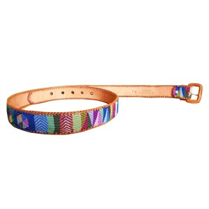 Leather belt with textile