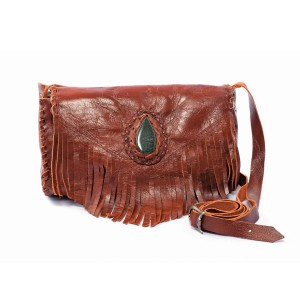 Leather bag with jade
