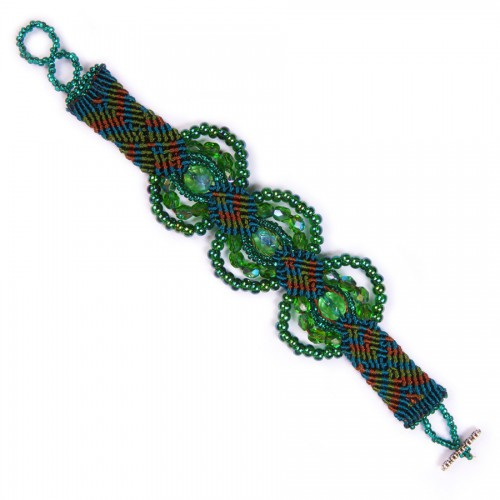 Macrame Bracelet 3 Circles with Crystals