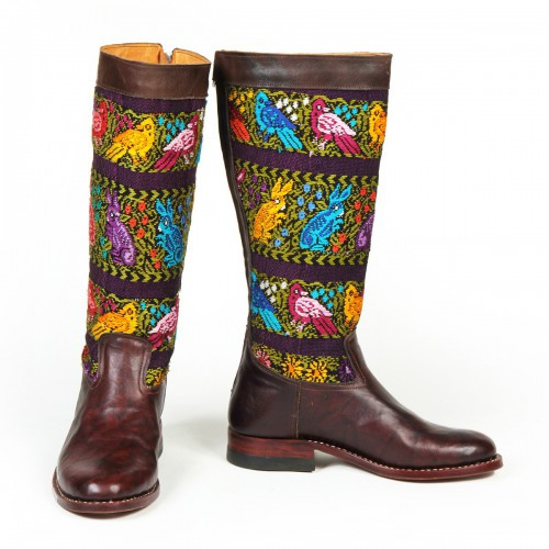 Multicolor Boots Low Heel