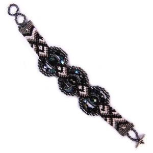 Macrame Bracelet 3 Circles with Crystals
